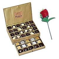De'Arco Chocolatier Chocolates Valentine Day Gift for Girlfriend Boyfriend Husband Wife, Premium Luxury Chocolates, 44pcs + Free Rose