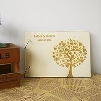 Alberi di cuore con incisione bacio uccelli personalizzabile con nome e DATA matrimonio libro degli ospiti Photo Albumes Scrapbook regalo di matrimonio