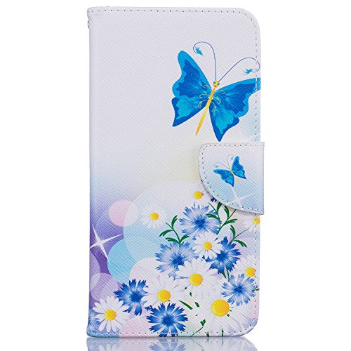 Felfy Hülle für iPhone 7 Plus 5.5 Zoll,iPhone 7 Plus Case,iPhone 7 Plus Cover PU Ledertasche Strap Flip Standfunktion Magnetverschluss Luxe Bookstyle Ledertasche Nette Retro Mode Painted Muster Abdeck Schmetterlinge und Blumen