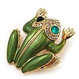 Large Bright esmalte verde de cristal de Swarovski 'rana' broche en Metal chapado en oro - 4,5...