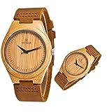 CCYOO Paar Unisex Quarzuhr aus Holz Leichte Armbanduhr