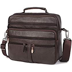CCDYLQ Sacs à Main première Couche Cuir Business Bag Mallette, Hommes Sac à Main Vintage en Cuir véritable Grande épaule Messenger Bags,Brown