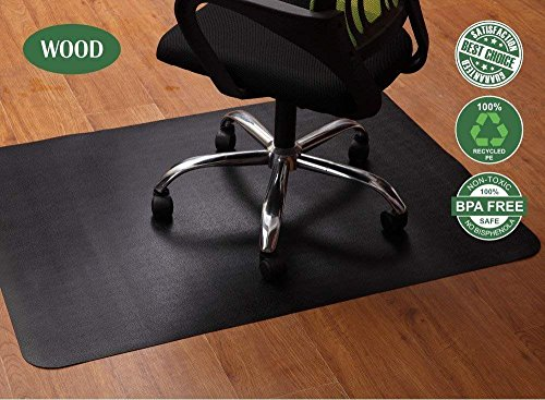 Obeda Bodenschutzmatte Schwarz, Bürostuhl unterlage 120x90cm - für Laminat, Parkett, Fliesen und Hartböden, schützen Ihren Boden...