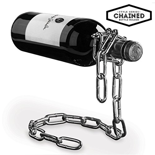 LORIGINALE CHAINED BOTTLE HOLDER – BOTELLERO PARA BOTELLAS DE VINO CON CADENA MAGICA SUSPENDIDA – IDEA PARA REGALO  DISEñO  DECORACION
