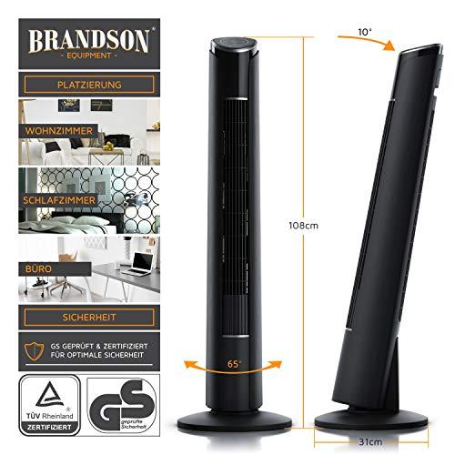 Brandson - Turmventilator mit Fernbedienung 108 cm | Ventilator 10° neigbar | Standventilator mit Oszilation | 65° oszillierend | 3 Geschwindigkeiten + 4 Lüftungs-Modi + Timer | GS | Nachtschwarz