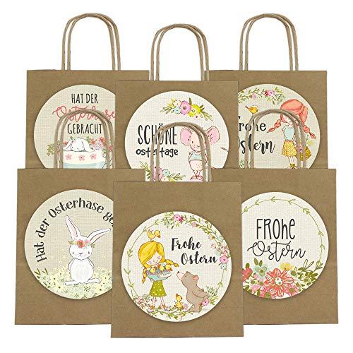 Papierdrachen - Sacchetti Regalo XXL per Bambini a Pasqua – Decorazione Pasquale Creativa con 6 Sacchetti di Carta e Adesivi XXL (14 cm) – Design 60, Packpapieroptik