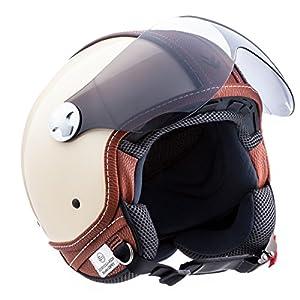 ARMOR Helmets AV-84 Casco Demi Jet, ECE Certificato , Beige/Vintage Deluxe Beige, XS (53-54cm)
