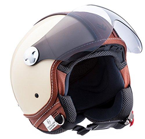 "Armor · AV-84 ""Vintage Deluxe Creme"" (yellow) · Casco moto Demi Jet · Retro Scooter motocicleta Urban Urbano Helmet · ECE certificado · Visor · Click-n-SecureTM Clip · Bolsa de transporte · S (55-56cm)"