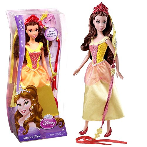 Disney Princess - Bambola Acconciature da Favola Belle Bella Snap 'n Style Mattel