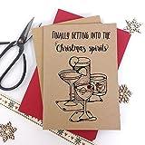 Luxus Kraft Weihnachtskarten Weihnachten Spirituosen Erwachsene Humor mit dicken Qualität Briefumschläge, Pack of 6 cards Kraft