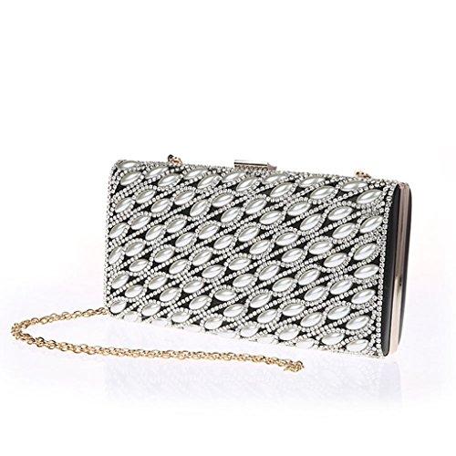 borsetta borsa Nuovo sacchetto di modo diamante borsa da sera di banchetto della sposa abiti da damigella ( Colore : Nero ) Silver