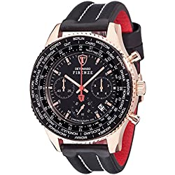 Detomaso Firenze Men's Quartz Watch with Rose Gold/Black XXL Forza Di Vita Chronograph Quartz Leather DT1045 I