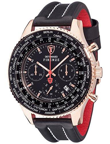 Detomaso Firenze Men's Quartz Watch with Rose Gold/Black XXL Forza Di Vita Chronograph Quartz Leather DT1045I