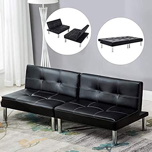 mecor Leder Sofabett Sofa Couch Schlafcouch Schlafsofa Bettsofa in schwarz -