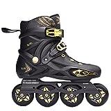 MLSS LI Rochen Erwachsene Schlittschuhe Erwachsene Männliche und Weibliche Rollschuhe Einreihige Flache Schuhe Skating Schuhe,Black-43