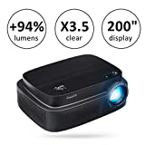 ExquizOn 2018 New Model for Word Cup Projector +94% Brighter X3.5 Clearer Utral HD projector 3500 Lumens 1280 x 800 Support 1080P with HDMI USB AV Interfaces for Home Cinema Game Movie (Q7)