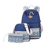 3 Teile Set Schulrucksack Mädchen/Damen, Rucksack Schule/Schulranzen + Schultertasche/Messenger Bag + Mäppchen/Purse-Typ B Blau
