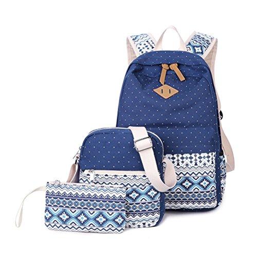 3 Teile Set Schulrucksack Mädchen/Damen, Rucksack Schule/Schulranzen + Schultertasche/Messenger Bag + Mäppchen/Purse-Typ B Blau - Dakine Canvas Brieftasche