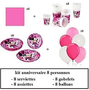 Kit d 39 anniversaire minnie mouse rose pour 8 personnes jeux et jouets - Kit anniversaire minnie ...