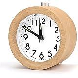 Bois Rond Réveil, Aodoor Classique Silencieux Alarme de Chevet en Bois avec Veilleuse Pour Home Bureau Chambre
