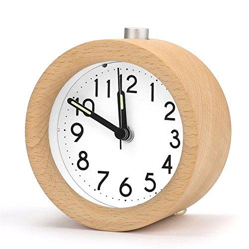 Aodoor Handgemachte Holzwecker mit Nachtlicht, Retro Lautlos Analog Tischuhr Snooze Funktion tickt Sanft Wecker Clock mit ticken Digitale für zuhause schlafzimmer büro, 1*AA Batterien (Batterien nicht im Lieferumfang)
