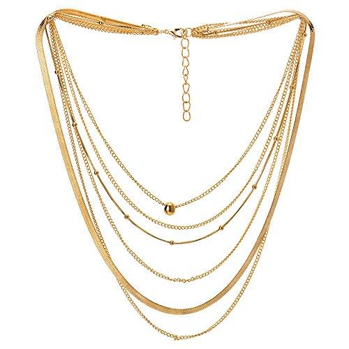 iMETACLII Goldfarben Statement Halskette Wasserfall Multi-Schichten Lange Kette Perlen Charme...