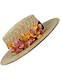 Gr Frauen 100% Weizen-Stroh Sun-Hut Dame Summer Flat Prok Pie Strand-Hut-Kappen mit Blume (Color : Natural, Größe : 56-58cm)