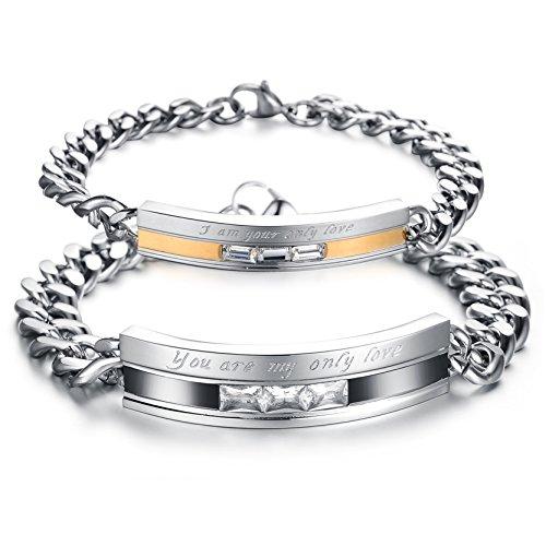 OBSEDE Only Love Ich Bin Deine Einzige Liebe, Die Du Bist Meine Einzige Liebe Edelstahl Armband Für Paar (2ST) (Liebe Mann-charme-armband)