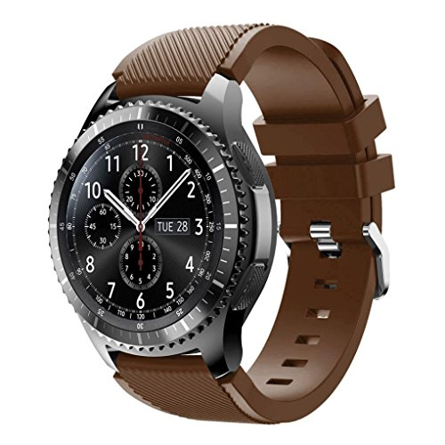 Preisvergleich Produktbild Sansee Neue Art und Weise Sport-Silikon-Armband-Bügel-Band für Samsung Gear S3 Frontier (Sport Armband Silikonband ) (Kaffee)