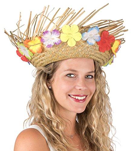 a547e6f0a6d46 P  tit payaso 95424 sombrero paja Hawaiano adulto – Natural con flores
