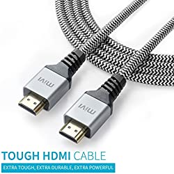 Mivi 3 Mtr High Speed HDMI cable V2.0 - 24K Gold plated connectors - 28AWG Braided - Ethernet - Audio Return - Support 3D, 4K, 2160p, 1080p, ARC, HEC, HDCP - High-Speed 10.2 gbps / 340 MHz (Supports up to 240hz Refresh Rates and 48-Bit Deep Color) - Connects Xbox PlayStation PS3 PS4 PC Apple TV and more
