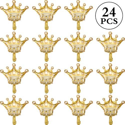 24 Stücke Mini Gold Krone Luftballons 16 Zoll Folie Helium Ballons für Geburtstag Hochzeit Halloween Weihnachten Party Dekorationen