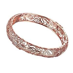 Bracciale placcato oro rosa 18k,decorato con motivi floreali e cristalli d'Australia