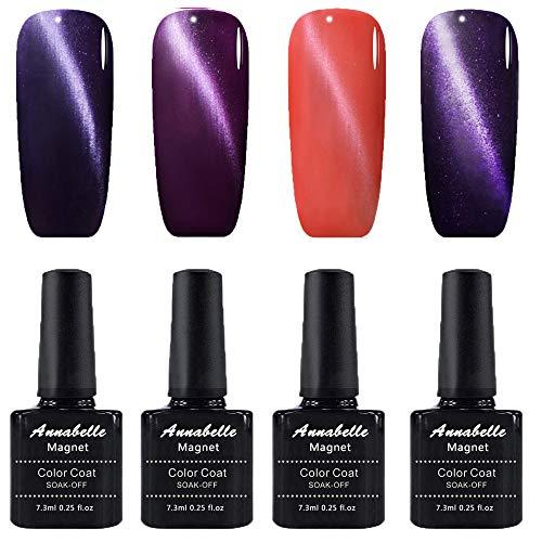 Annabelle Katze Augen Magnet Nagellack UV Nagellack Soak Off Nail Art 7.3ml (7.3ml/pc Lot de 4) 0603