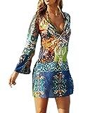 Damen Reizvolle V-Ausschnitt Lautsprecher Langen-Ärmeln Gedruckt Chiffonrock Strandkleid Lose Casual Beachwear Bikini Cover Up Minikleider Oberteile Bluse Sommerkleider, Mehrfarbig, Gr. 34 / S