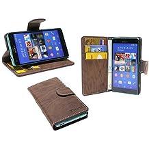Elegante Funda libro para Sony Xperia Z3 Mini (D5803) en marrón cartera Book Style @ energmix