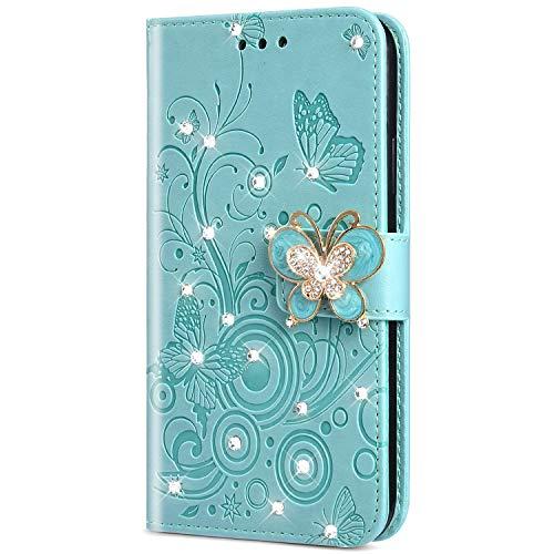 Urhause PU Leder Hülle Flip Cover Wallet 3D Ledertasche Schmetterling Kristall Strass Glitzer Leather Brieftasche Handytasche Klapphülle Lederhülle Kompatibel mit Nokia 3.1 2018,Grün Alle Nokia-flip-telefone
