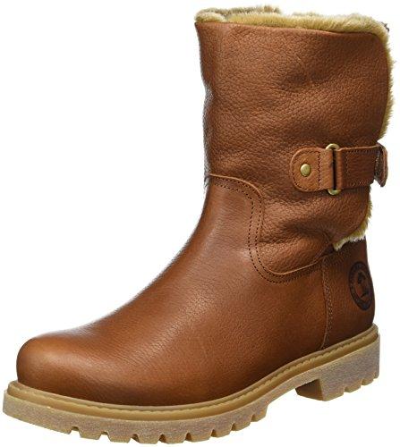 Flach Slouch Boot (Panama Jack Felia  Damen Warm gefüttert Biker Boots Halbschaft Stiefel & Stiefeletten, Braun (Bark B8), 41 EU)