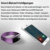 AsiaLONG Fitness Armband mit Pulsmesser – Puls Armband Schrittzähler Fitness Tracker Aktivitätstracker mit Schlafanalyse, Kalorienzähler, Vibrationswecker Anruf SMS Whatsapp Vibration für iOS und Android Handy (Upgrade) - 5
