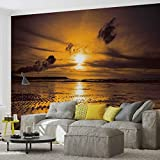 Tapeto Fototapete - Sonnenuntergang Strand - Vlies 416 x 254 cm (Breite x Höhe) - Wandbild Sand Wolken Natur