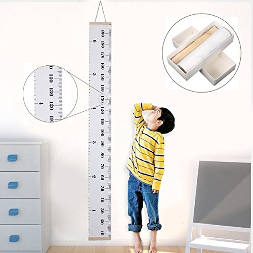 Jeteven Messlatte Tragbare aufrollbar Segeltuch und Holz Messlatte Höhe Diagramm um Kinder von der Geburt bis zum Erwachsenenalter,20x200cm Kinderzimmer Dekor (A)