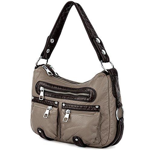UTO Damen Handtasche Mittel Purse PU Leder Hobo Stil Vorderseite Reißverschluss Schultertasche schwarz grau