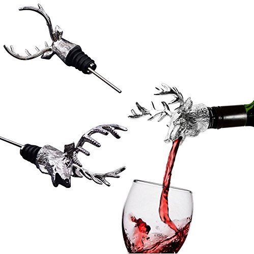 Reefa Tappo Versatori da Vino Tappo per Bottiglie Disegno della Testa di Cervo