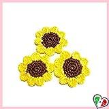 Set 3 fiori girasole per applicazioni varie, spille o magneti ad uncinetto in cotone - dimensioni ø 4.5 cm - Handmade - ITALY