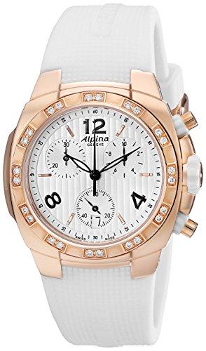 ALPINA AVALANCHE AL350LWWW2AD4 LADIES WHITE RUBBER DIAMONDS 36MM DATE WATCH
