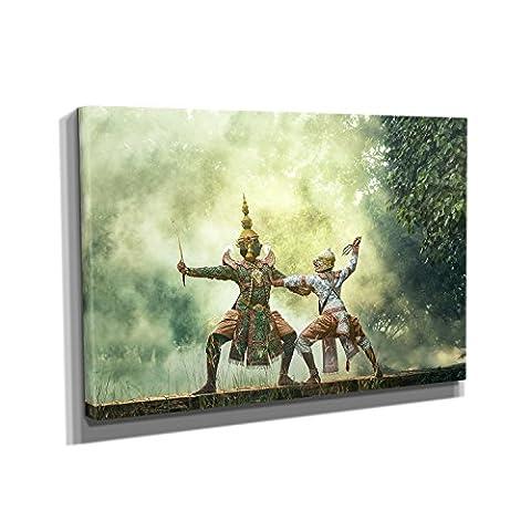Dancing Demons - KUNSTDRUCK auf Leinwand (40x60 cm) zum VERSCHÖNERN IHRER WOHNUNG. Verschiedene Formate AUF ECHTHOLZRAHMEN. HÖCHSTE QUALITÄT, UMWELTBEWUSST hergestellt. MIT (Schmuck Führer)