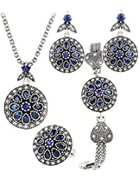 Shining Diva Fashion AAA+ Blue Crystal Fancy Combo of Pendant Necklace Set for Women/Jewellery Set with Ring Bangle Bracelet and Earrings for Women & Girls(8700s)