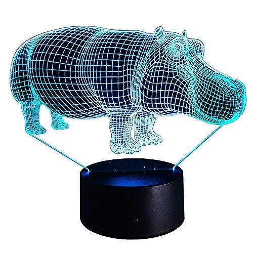 Optische Täuschung 3D Nilpferd Nacht Licht 7 Farben Andern Sich USB Adapter Touch Schalter Dekor Lampe LED Lampe Tisch Kinder Brithday weihnachten Geschenk