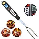 Zreal Digital Thermomètre à viande Fourchette avec L 'écran LED Alarme longue Fourchette Outil pour griller BBQ cuisson