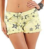 malito Damen Shorts mit Stern Muster | kurze Hose mit Fransen | Bermuda für den Strand | Pants - Hotpants 6081 (gelb)